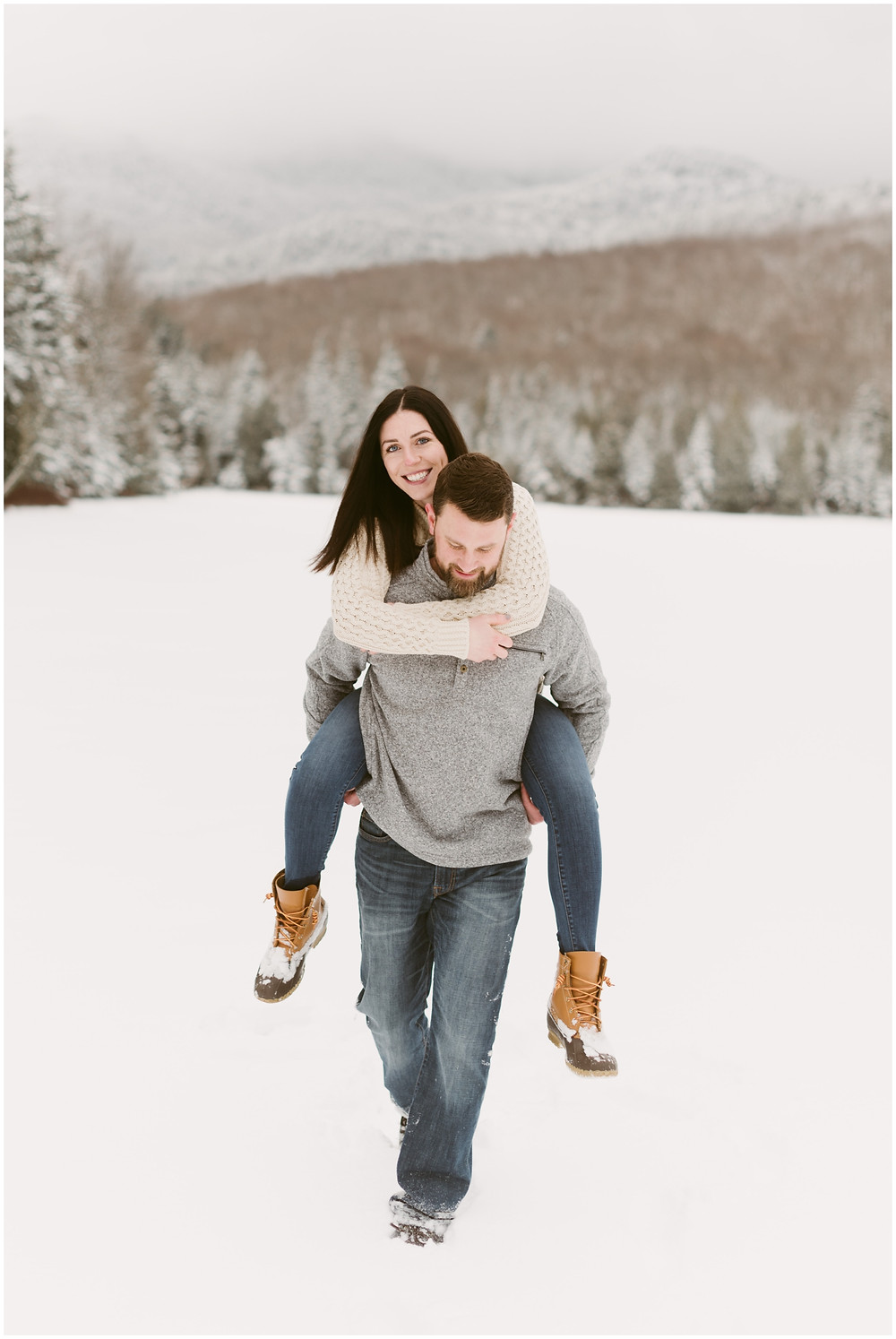 Winter engagement session in the Adirondacks by Mountainaire Gatherings