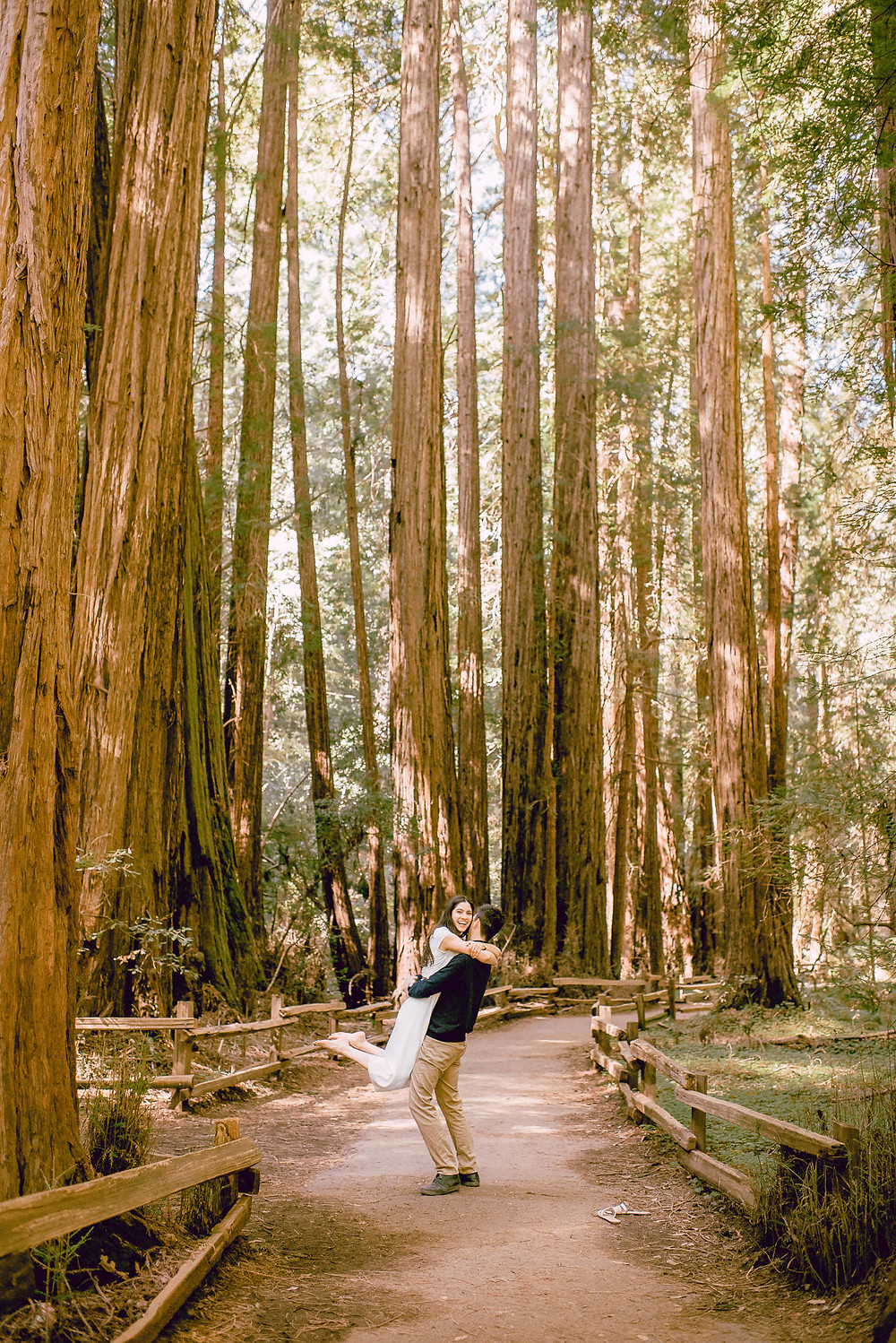 Fun Engagement Session in the Redwoods of California