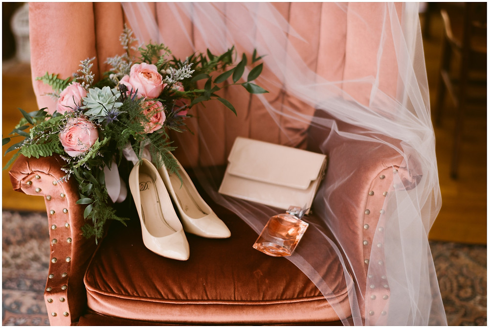Dusty rose and neutral bridal details at a spring Takk House wedding in central NY by Mountainaire Gatherings