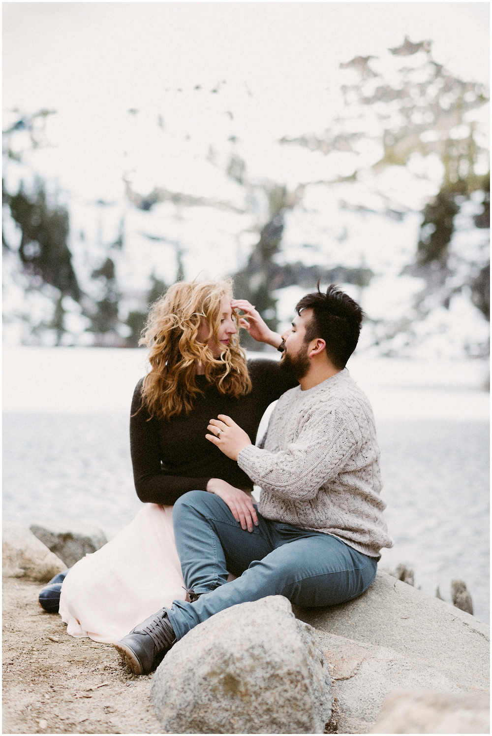 Windy couples session at Eagle Lake in Lake Tahoe, California