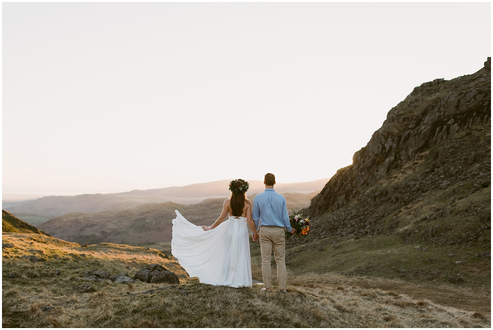 Boho elopement photographs in the Lake District, United Kingdom