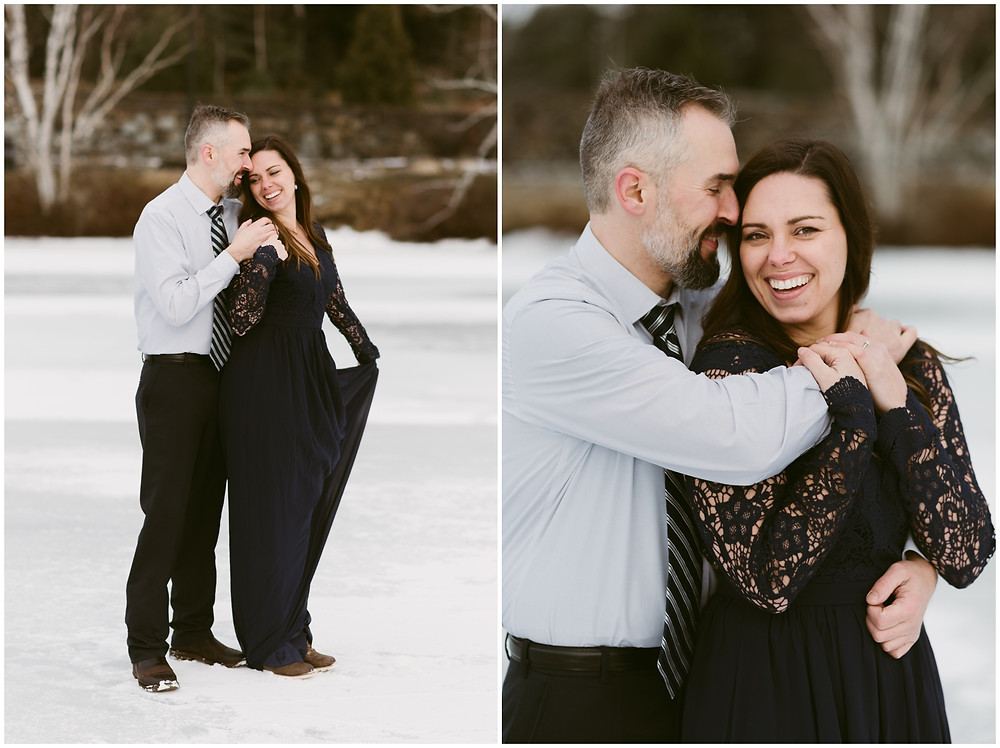 Romantic engagement photos at sunset in the Adirondacks by Mountainaire Gatherings
