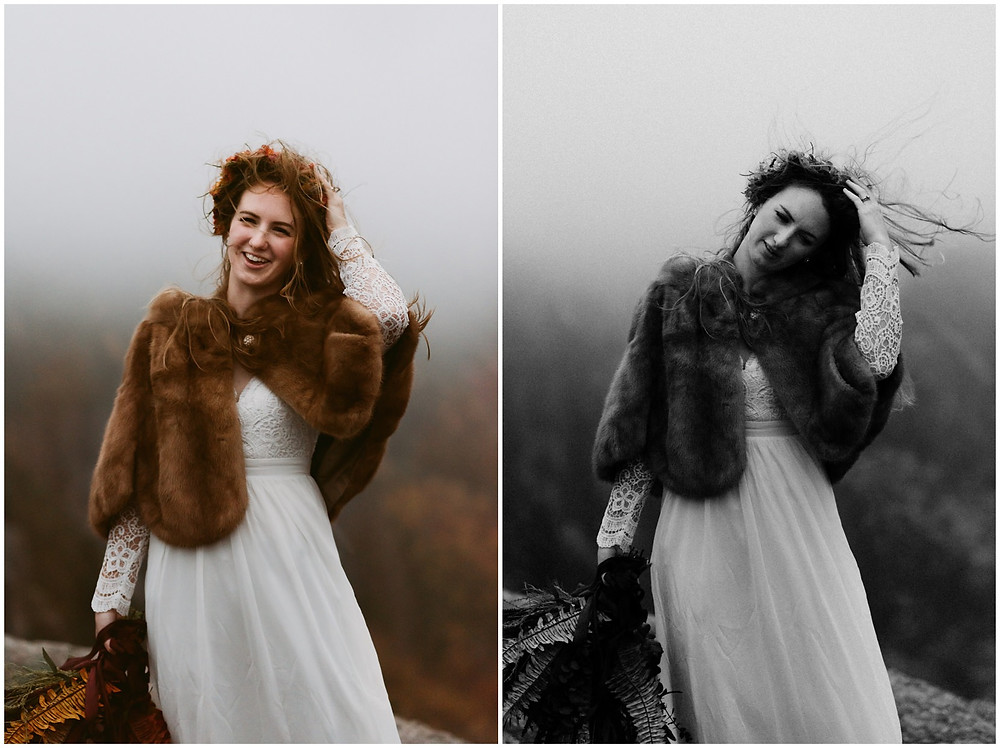 Boho bride on a windy elopement by Mountainaire Gatherings