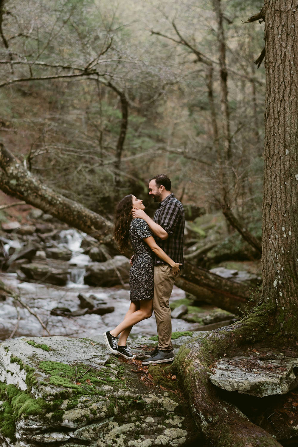 Rainy Engagement Session at Kaaterskill Falls, Catskills NY