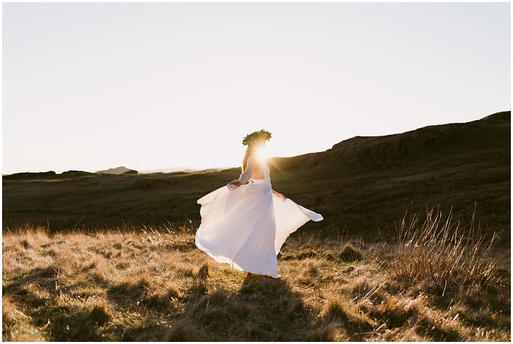 Boho, relaxed bride in the Lake District National Park