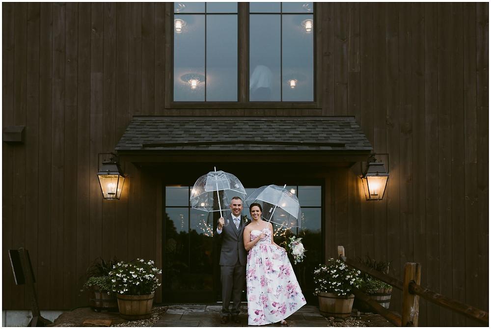 Rainy weather wedding portraits in Vermont
