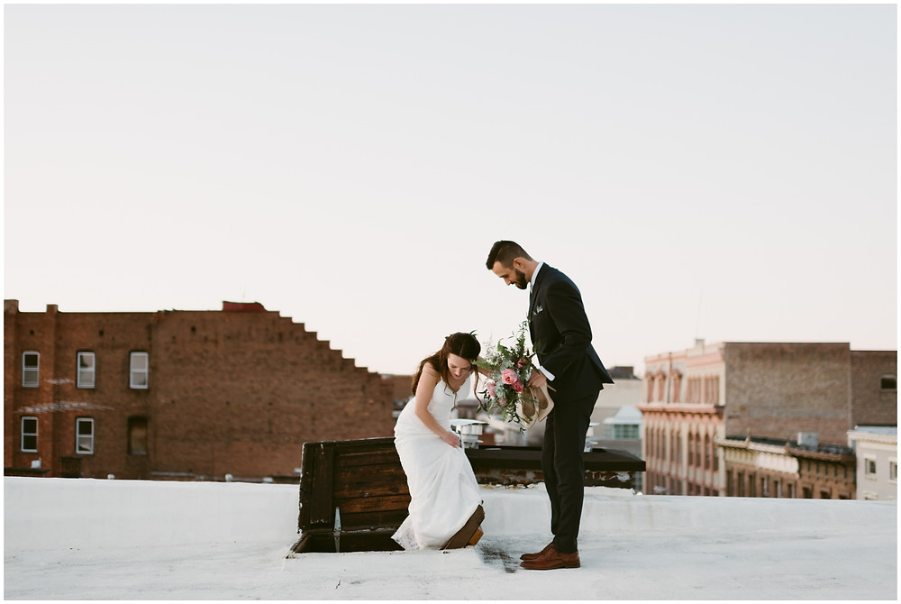 Bride and groom rooftop portraits at golden hour at the Takk House in Troy, NY by Mountainaire Gatherings