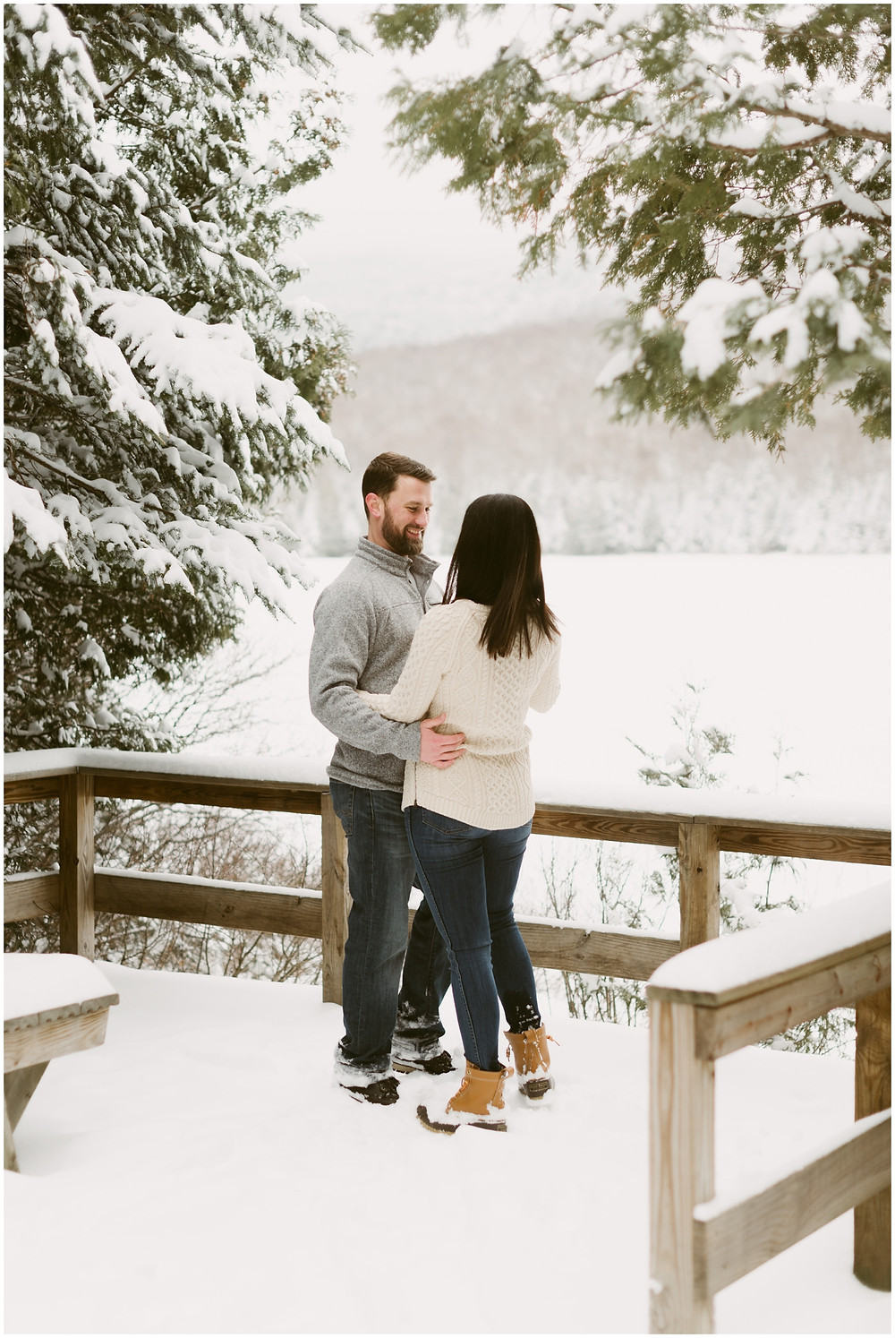Wintery engagement photos in the Adirondack Mountains by Mountainaire Gatherings