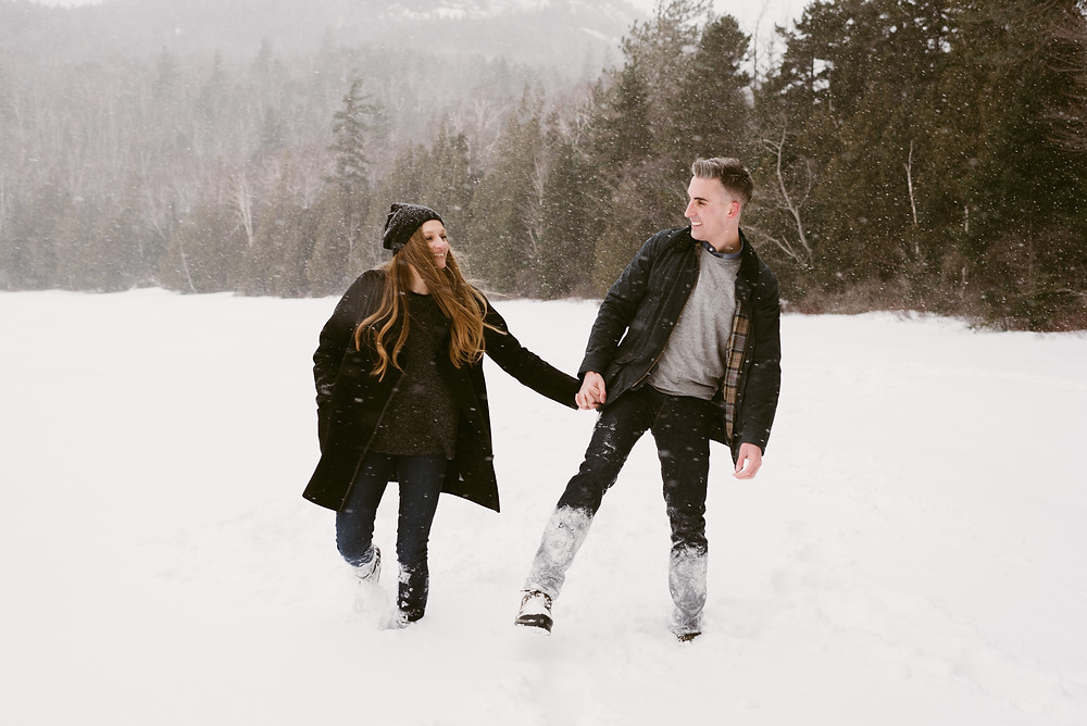 Snowy engagement pictures in the Adirondack mountains