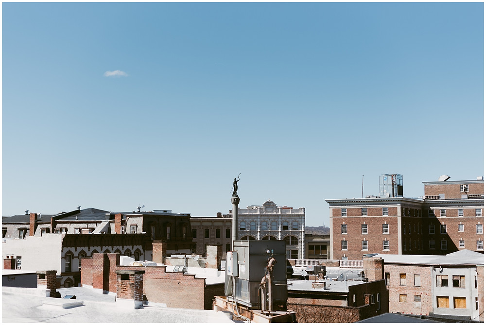 Urban first look on the rooftop of the Takk House in Troy, NY by Mountainaire Gatherings