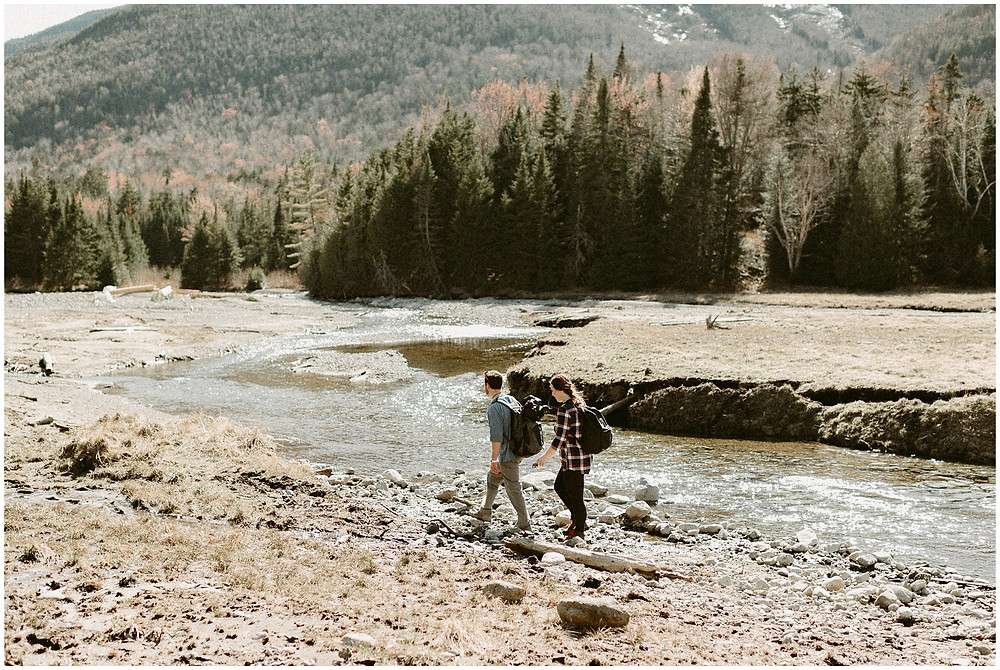 Outdoor hiking engagement session in the Adirondack Mountains by Mountainaire Gatherings