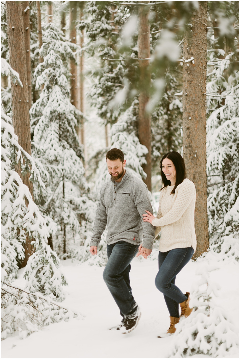 Engagement photos in the woods in the Adirondacks by Mountainaire Gatherings