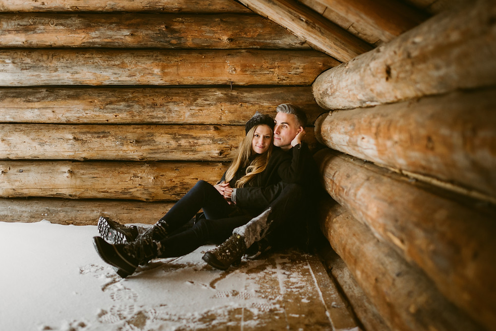 Winter engagement photos at the Adirondack Loj in Lake Placid