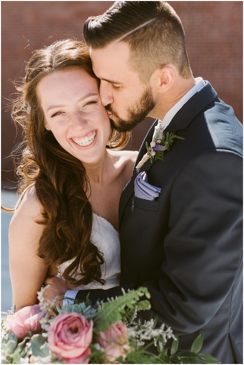 Urban bride and groom portraits on the rooftop of the Takk House in Troy, NY by Mountainaire Gatherings