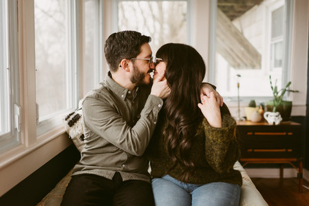 Comfortable In-Home Engagement Session | Saranac Lake Wedding Photographer | Mountainaire Gatherings