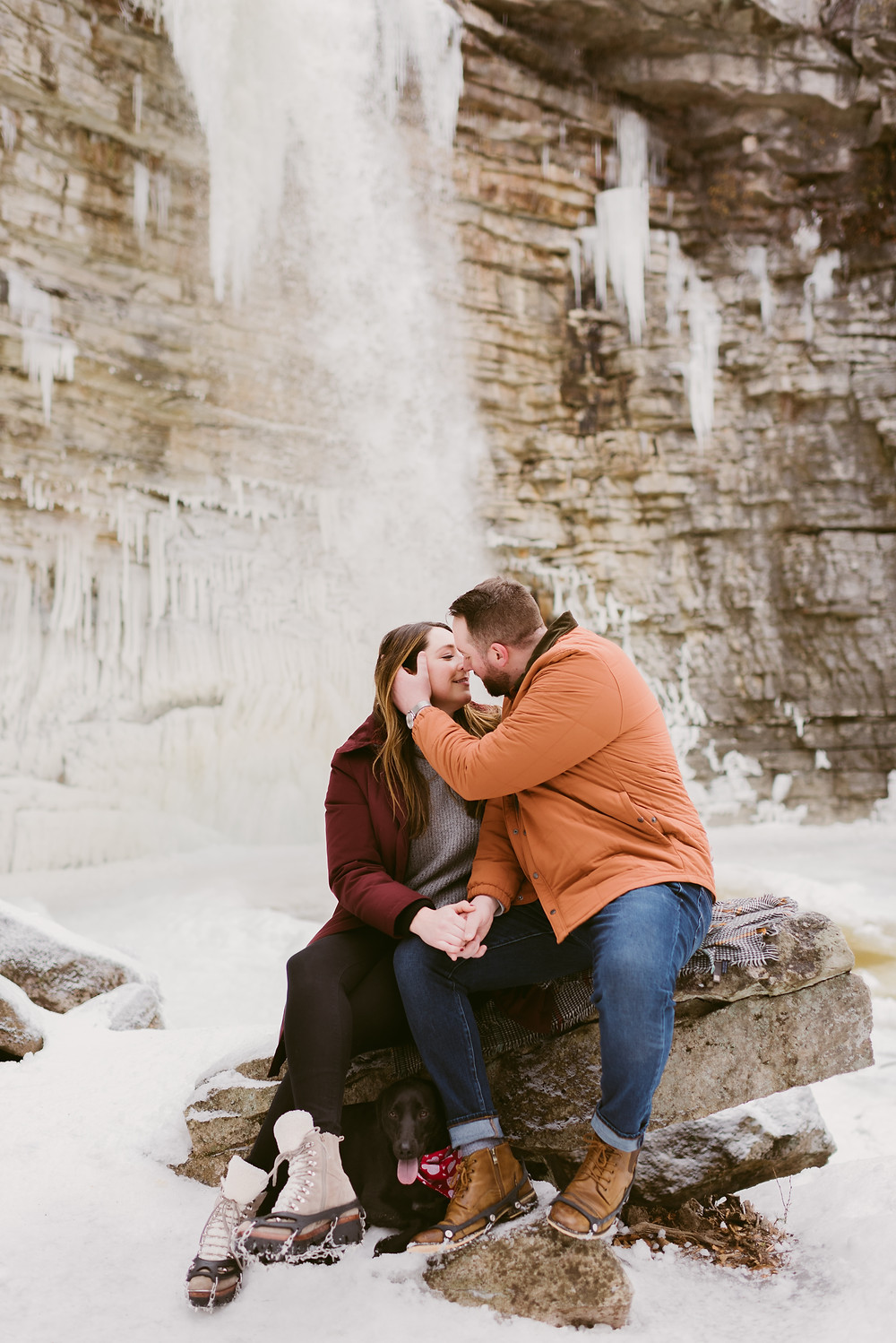 Engagement photos in front of Awosting Falls by Hudson Valley wedding photographer Mountainaire Gatherings