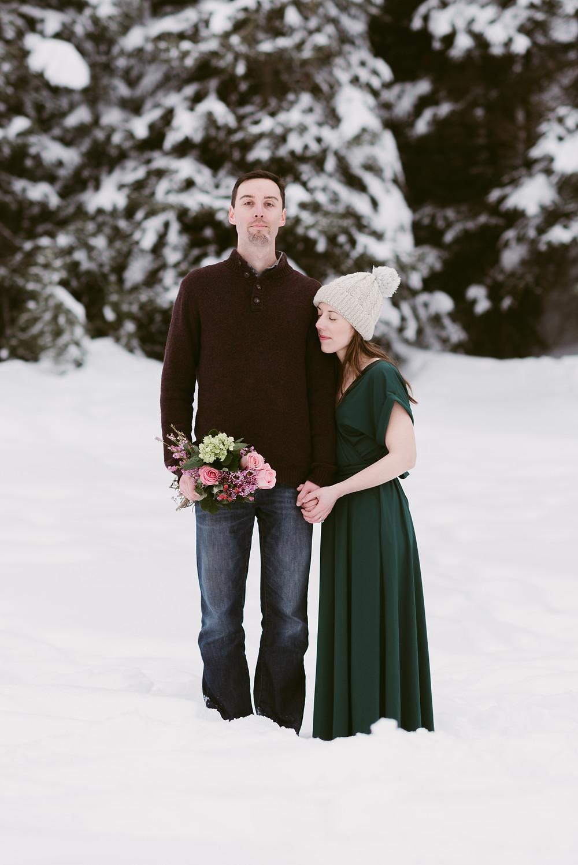 Big Cottonwood Canyon Anniversary Session | Winter Couple's Session in Utah | Utah Adventure Elopement Photographer