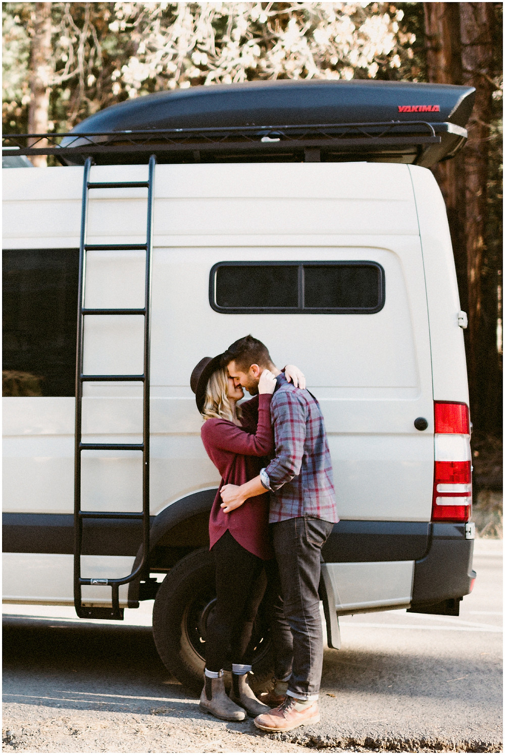 Couple's engagement session in their Sprinter van by Mountainaire Gatherings