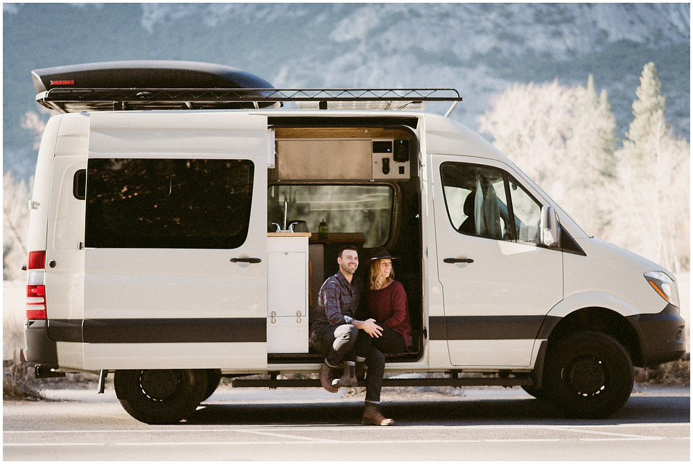Van life engagement session in Yosemite by Mountainaire Gatherings