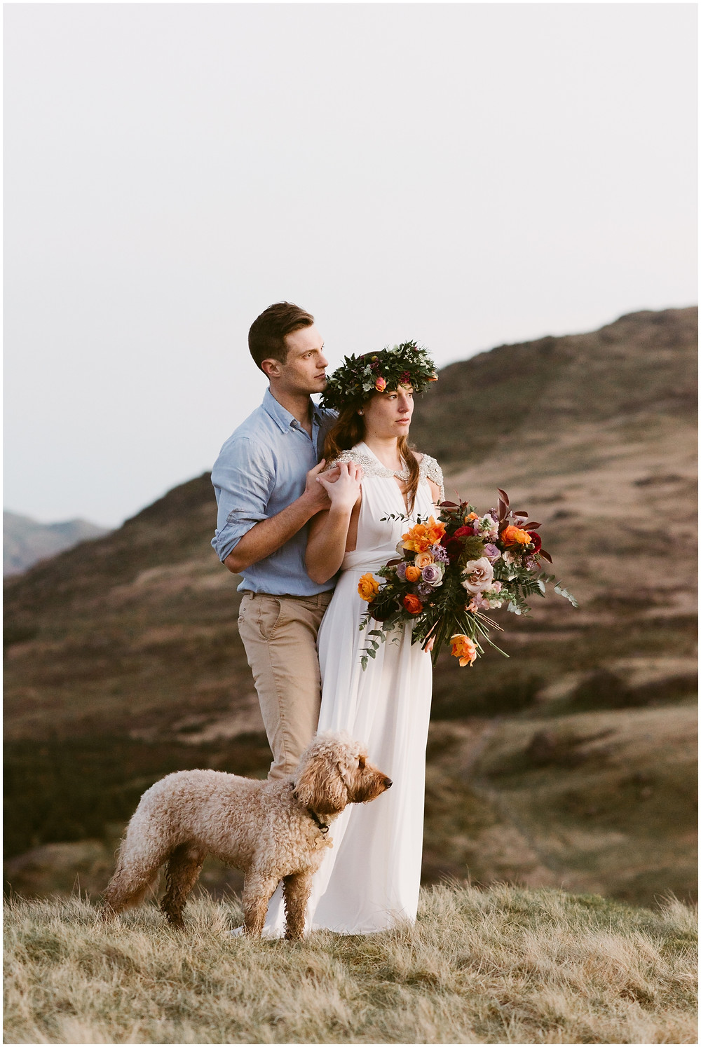 Outside wedding at Hardknott Pass in the Lake District, United Kingdom