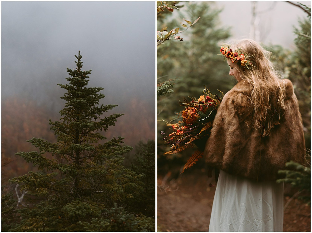 Adirondack bride in the woods by Mountainaire Gatherings