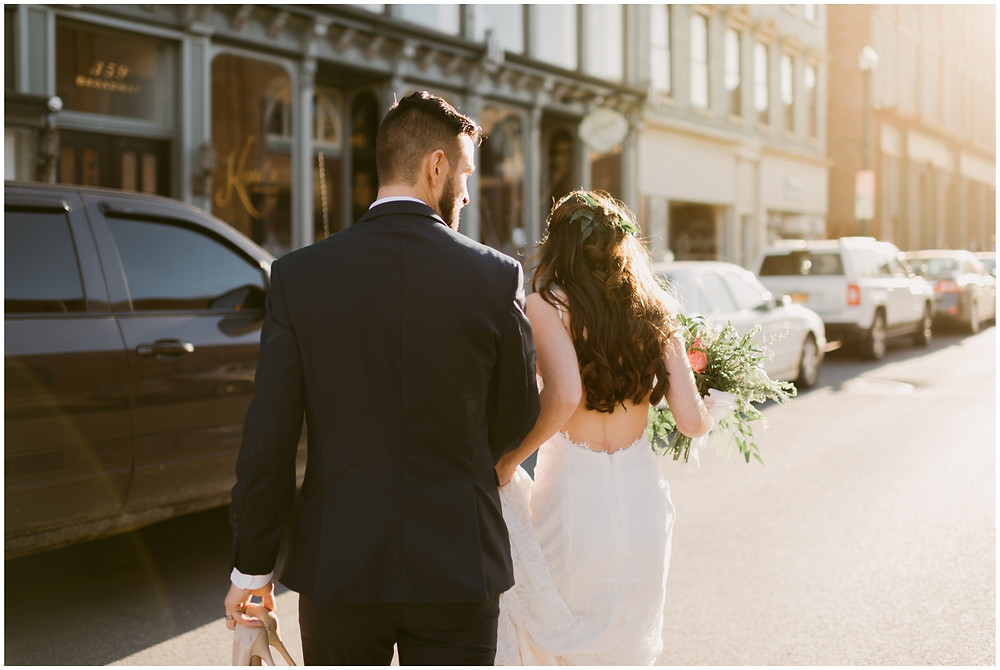 Urban bride and groom portraits in downtown Troy, NY by Mountainaire Gatherings