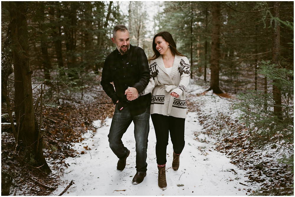 Fun, outdoor couple's session in Lake Placid by Mountainaire Gatherings