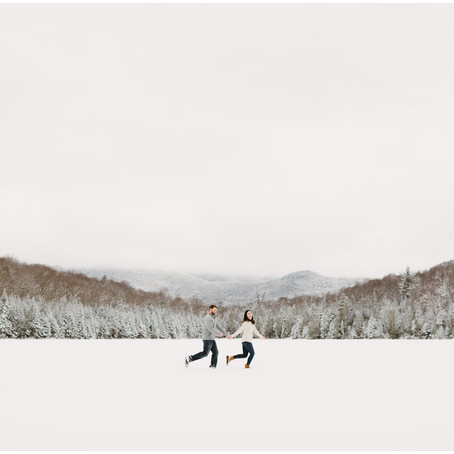 Snowy Engagement Photos at the Adirondack Mountain Club