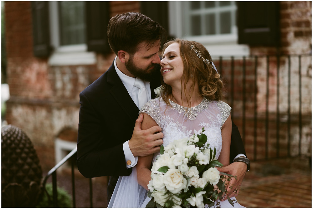 Bride and groom portraits at Worsell Manor, Maryland