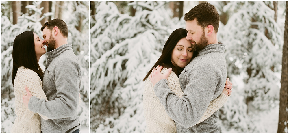 Snowy engagement session in the woods by Mountainaire Gatherings
