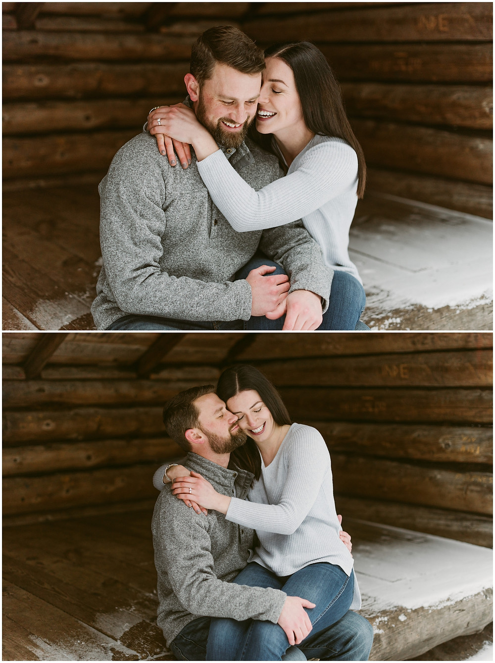 Winter engagement photos in an Adirondack lean-to by Mountainaire Gatherings