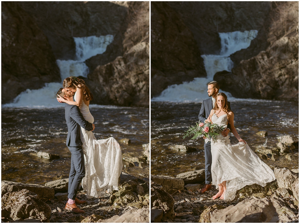 Bride and groom portraits at Poestenkill Falls in Troy, NY by Mountainaire Gatherings