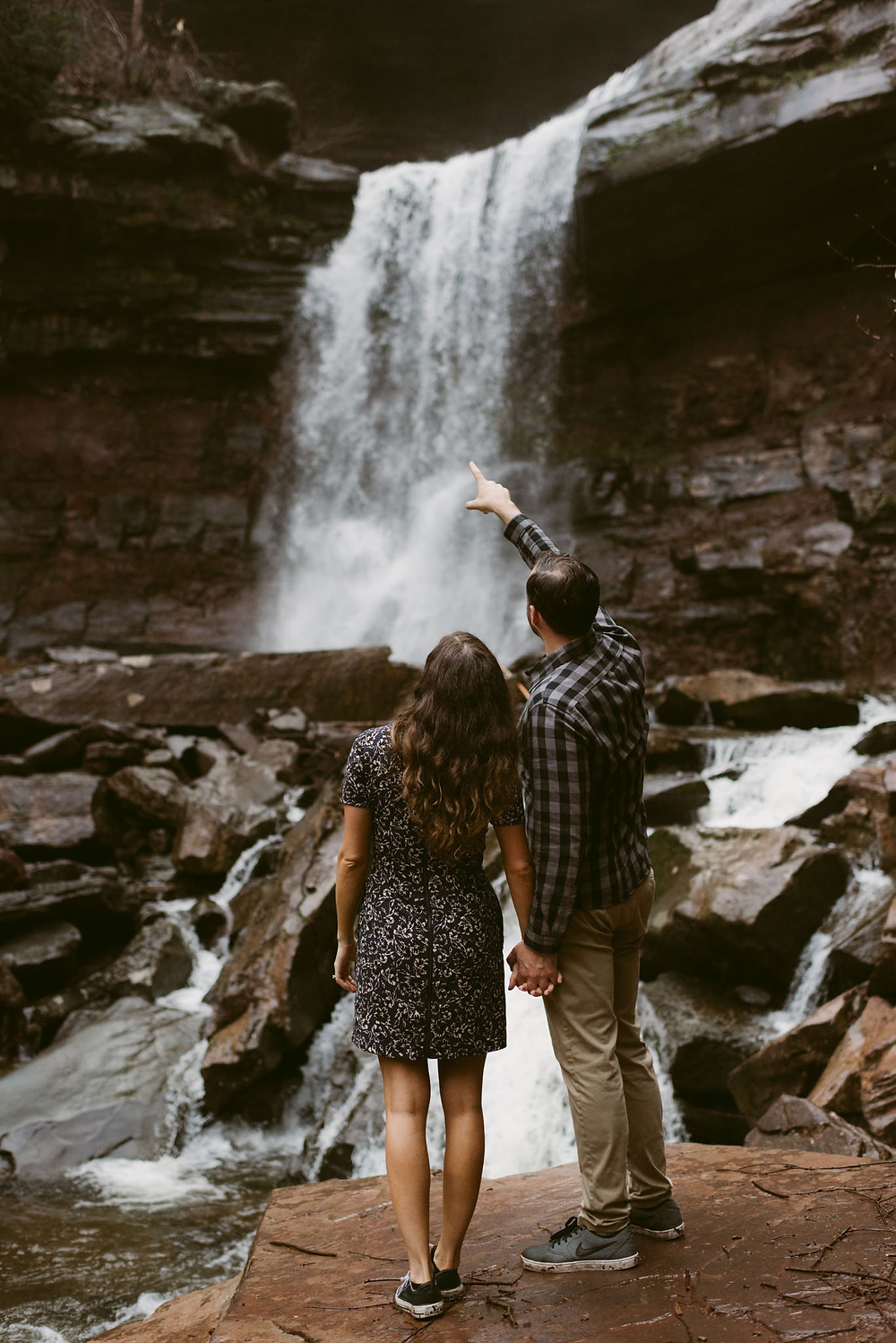 Rainy Engagement Session at Kaaterskill Falls