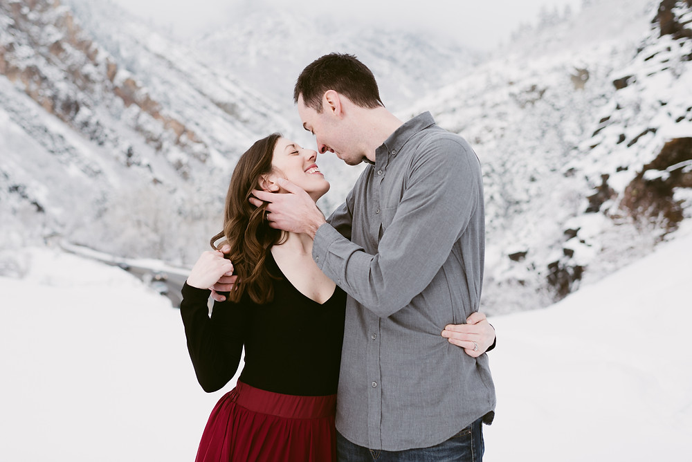 Snowy Anniversary Session in Utah | Big Cottonwood Canyon Couple's Session