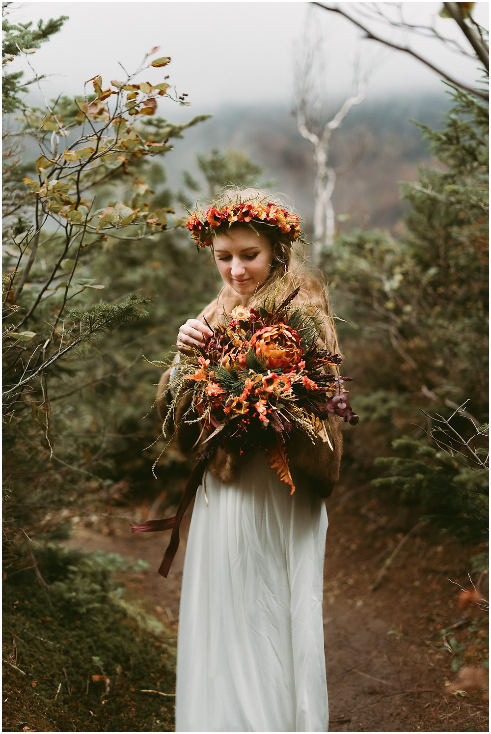 Adirondack bride with flower crown and bouquet by Mountainaire Gatherings