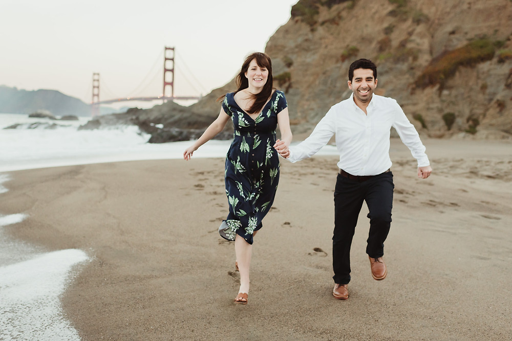Romantic Sunrise Engagement Session at Baker Beach, San Francisco