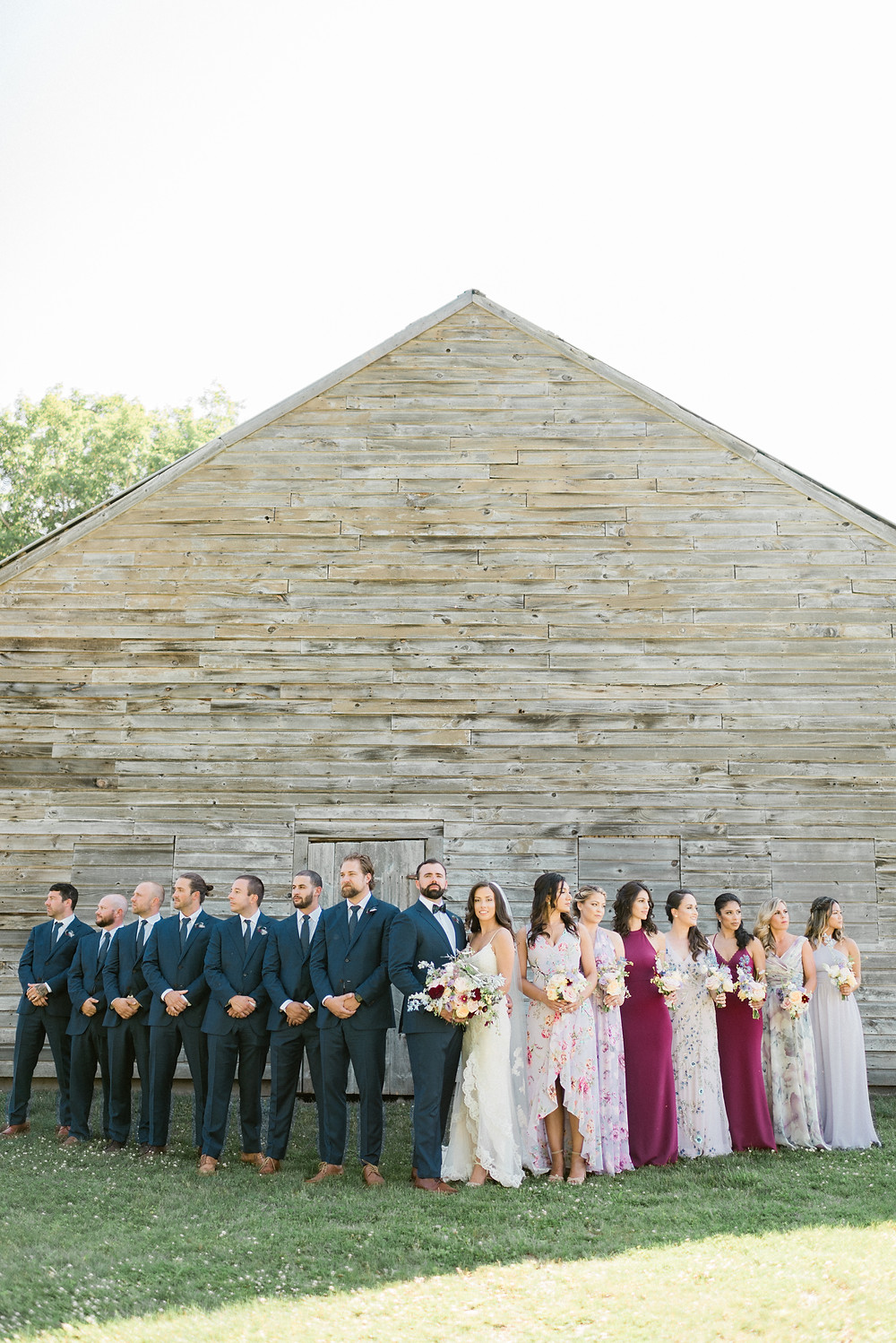 Formal wedding party at Hayfield Barn in the Catskills, NY | Hudson Valley wedding photographer