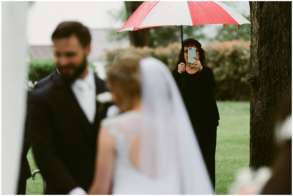Rainy outdoor wedding at Worsell Manor in Maryland