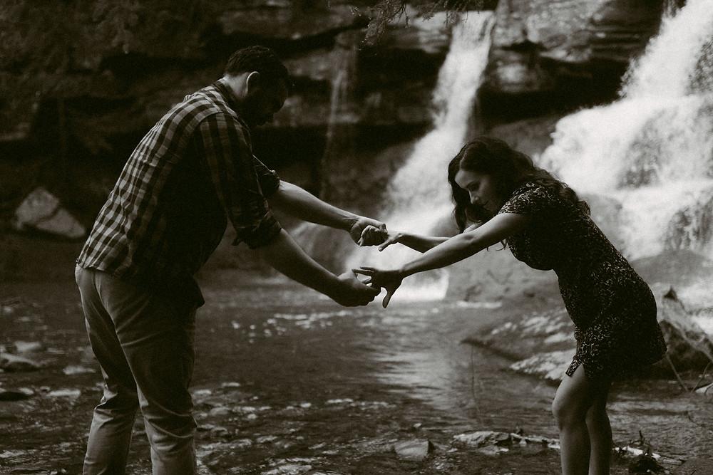 Rainy Engagement Session at Kaaterskill Falls, Catskills NY