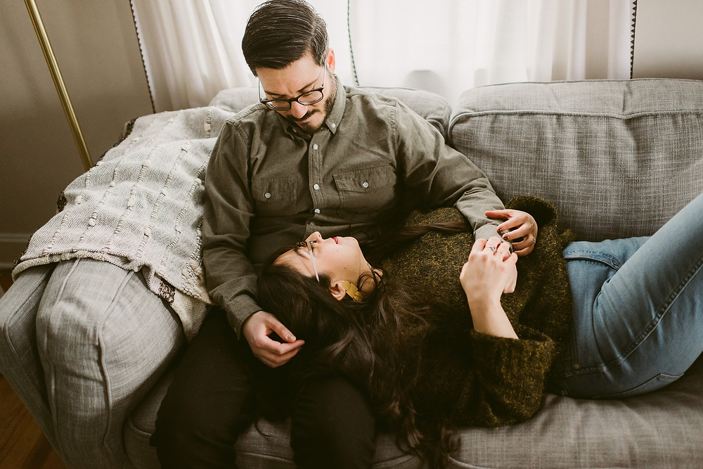 Mid-Century Mod In-Home Engagement Session by Catskills Wedding Photographer, Mountainaire Gatherings