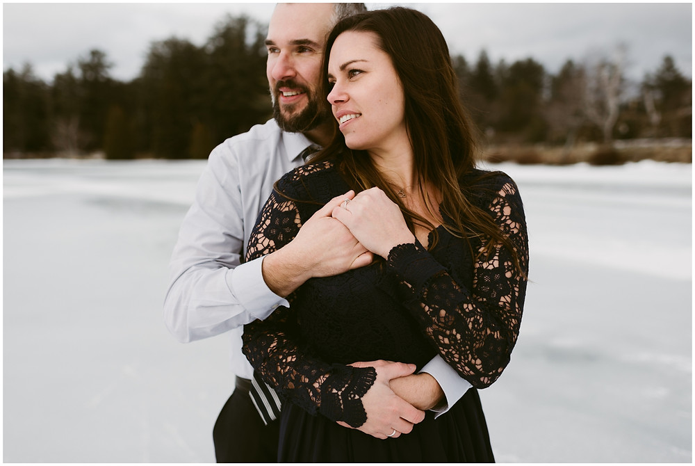 Snowy Lake Placid engagement photos by Mountainaire Gatherings