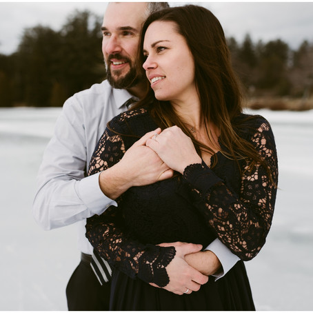 Outdoor Winter Engagement Session in Lake Placid