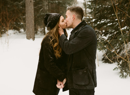 A Snowy Engagement Session at the Adirondack Loj