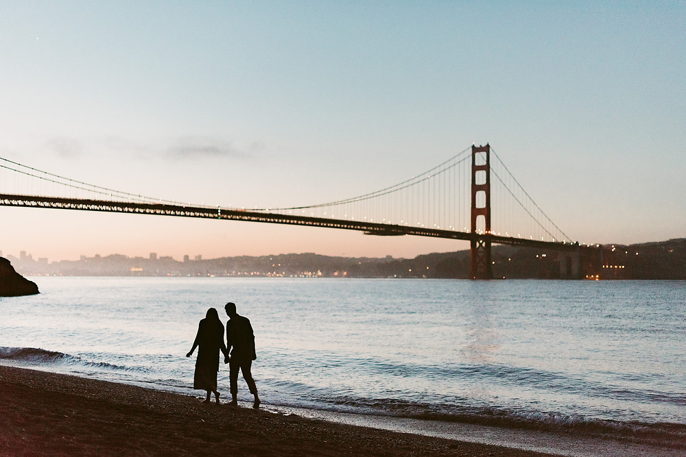 Sunrise engagement session at Kirby Cove, San Francisco