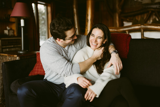 Indoor Lake Placid Lodge Engagement Sess