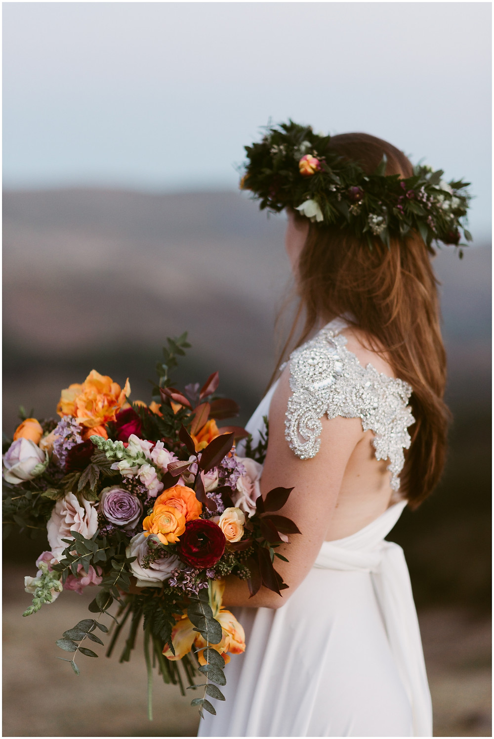 Swallows & Damsons bridal bouquet and flower crown