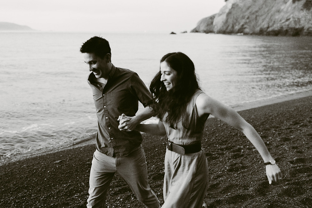 Sunrise engagement session at Kirby Cove, California