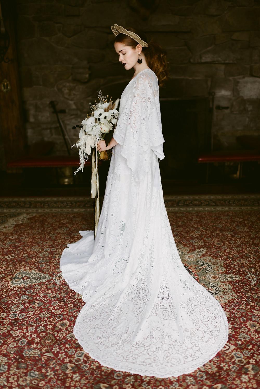 Alternative bride at her Lake Placid wedding