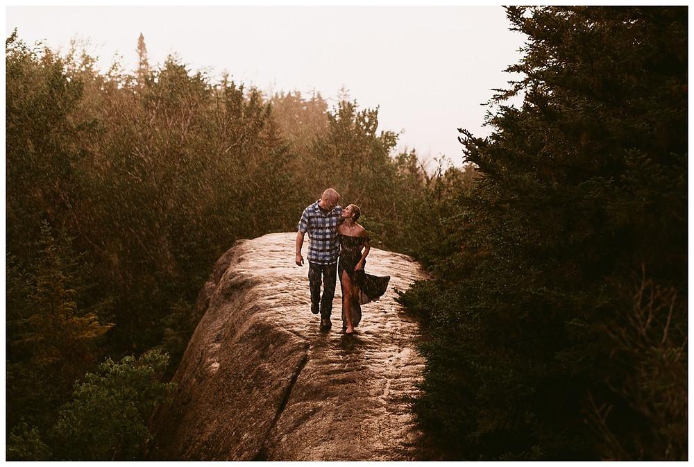 Rainy Mt. Jo Engagement Session in the Adirondacks