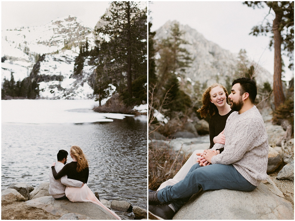 Outdoor engagement photos at Eagle Lake in California